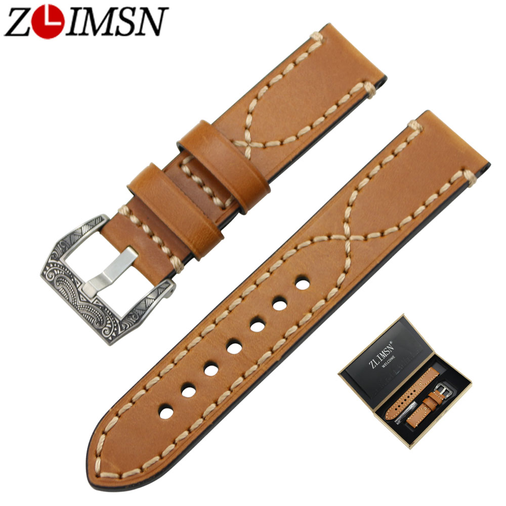 ZLIMSN Genuine Leather Watch Band Strap Suitable for Panerai Wristbelt 20 22 24mm Men's Watchband Stainless Steel Carved Buckle zlimsn men s watch band for panerai 20 22 24 26mm black brown watchband stainless steel buckle wrist belt genuine leather