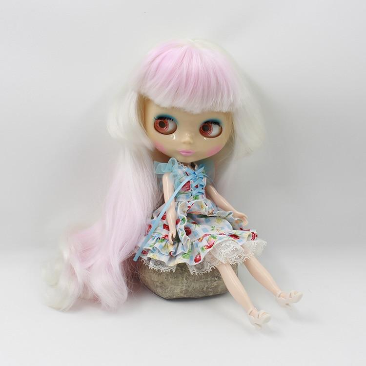 ФОТО Amazing Blyth nude doll DIY white long hair with light pink bangs fashion dolls for girls gifs