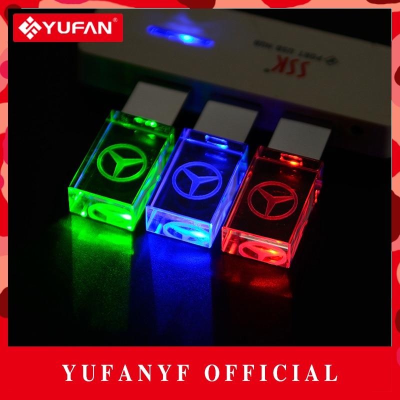 YUFANYF 2017 pendrive 3 colors Red blue green LED Benz car LOGO font b USB b
