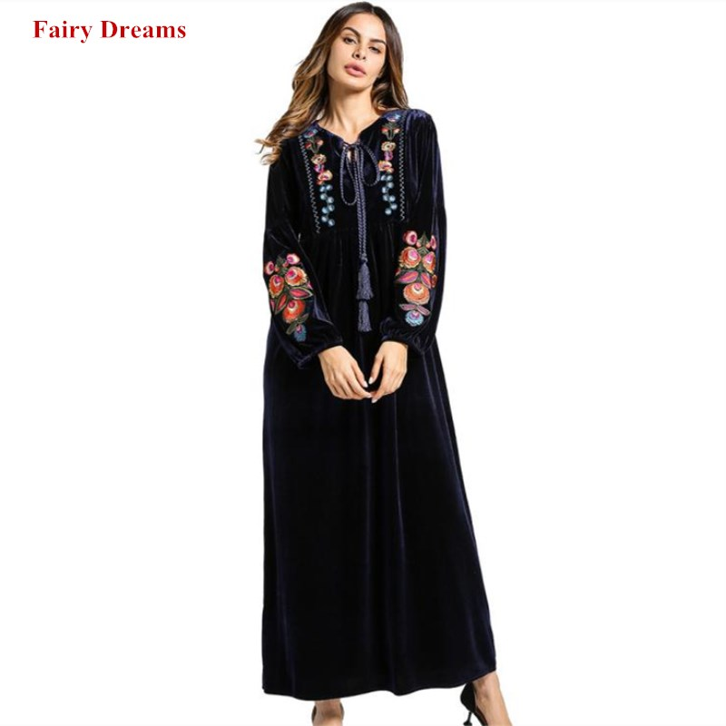 Velvet Muslim Dress Dubai Abayas Women Flowers Embroidery Long Sleeve Red Blue Turkish Robe Fashion Velour Islamic Clothing 2018 Одежда