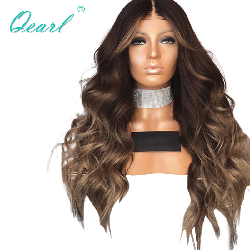 Cheveux humains pleine dentelle perruques bébé cheveux brésiliens ondulés Remy cheveux pour femmes Ombre brun blond pré plumé 150% 180% densité Qearl