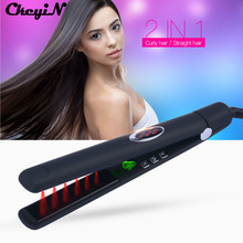 Big sale CkeyiN 100-240V Infrared Negative Ions Ceramic Hair Straightener Flat Iron Professional Hair Care Straightening Iron LCD Display