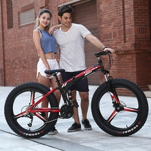 Mountain bike 24speed 26×4.0 Folding bike fat bike Double disc brakes Bicycles Snow Bike Front and rear damping bicycle road