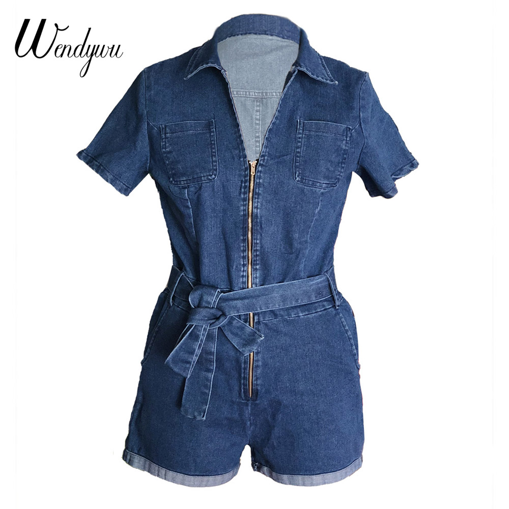 033bd4167f8 Wendywu New Short Jumpsuit Fashion Jeans Bodysuit Summer Turn Down Denim  Playsuits Cotton Rompers Womens Denim Jeans Overalls -in Rompers from  Women s ...