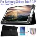 De calidad superior del soporte de la pu cubierta de cuero para samsung galaxy tab e 9.6 t560 t561 tablet case + protector de pantalla gratuito + stylus pen