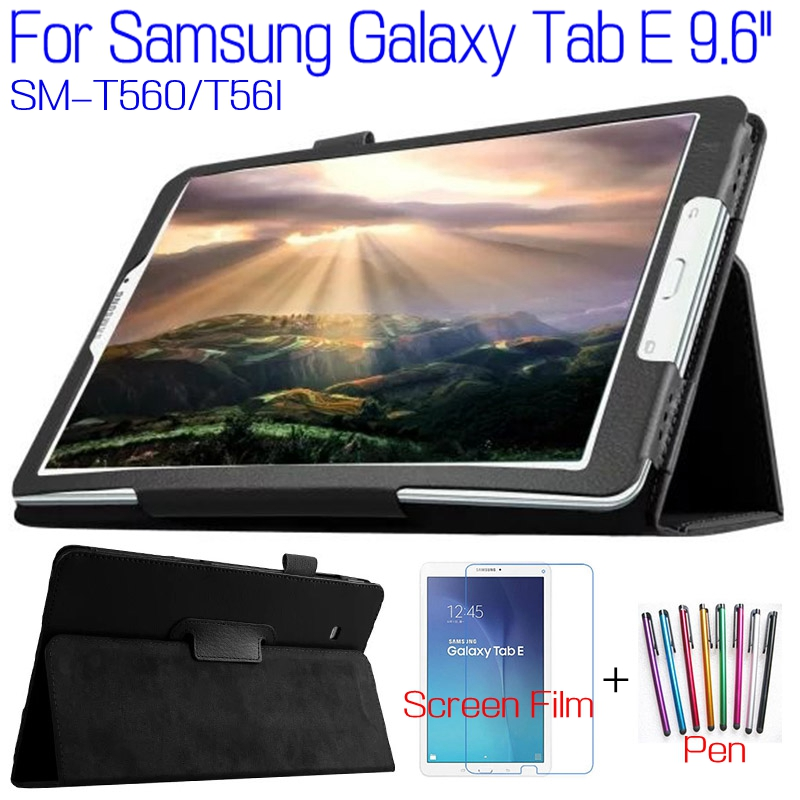 Top Quality Stand PU Leather Cover for Samsung Galaxy Tab E 9.6 T560 T561 Tablet Case+Free Screen Protector+ Stylus Pen