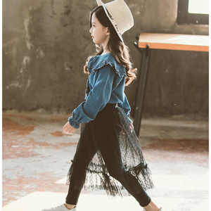 Image 2 - The Newest Style Children Clothing Sets Kids Girls Two Piece Set Jeans Shirts and Lace Skirt Pants Teenage Black Mesh Pants 12Y