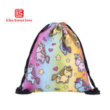 Digital Cartoon Printing Oxford cloth Drawstring Pocket Rainbow Unicorn Shopping Storage Women Fashion Drawstring Bags(China)