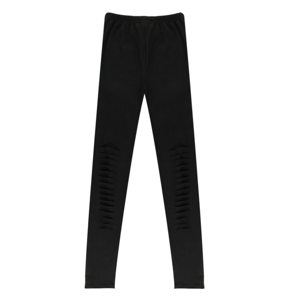 bfc06d2343ee0f Women Basic Strech Black Leggings Holes Ripped Leggings Punk Rock Fashion  Leggins Casual Jeggings Dancing Pant Party Gothic Pant-in Leggings from  Women's ...