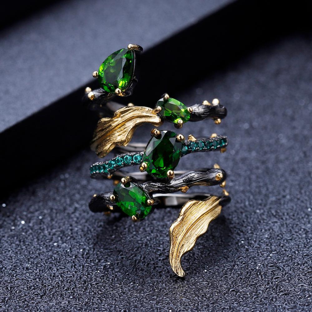 Image 2 - GEMS BALLET 2.57Ct Natural Chrome Diopside Gemstone Finger Ring  925 Sterling Sliver Leaf Band Rings For Women Fine JewelryRings   -