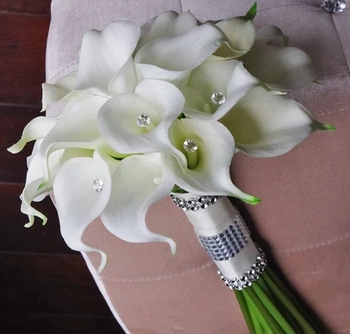 Silk Flower Wedding Bouquet - Calla Lilies White Natural Touch with Crystals Bridal