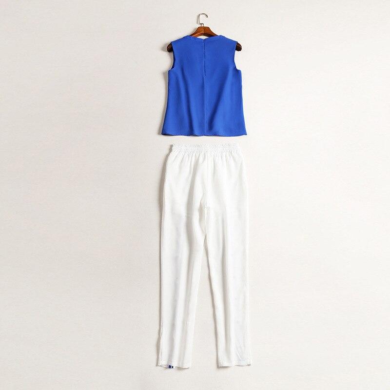 D2036 Ciel Femmes Jambe Loisirs Survetement Costume fin 2019 Ouvert Deux Hauts Pu Bleu pièce D'été Haute Ensemble Pantalon Femme Marque Pièces 2 vXpwx