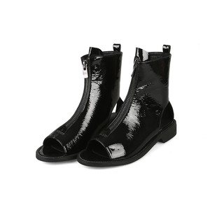 Image 3 - MORAZORA 2020 הגעה חדשה קרסול מגפי נשים פטנט עור קיץ מגפי zip בוהן ציוץ גלדיאטור פאנק נעלי אישה מגפיים