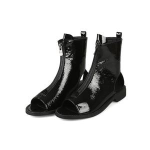Image 3 - MORAZORA Botines de charol para mujer, botas de gladiador con cremallera y Punta abierta, zapatos de estilo punk, novedad de 2020