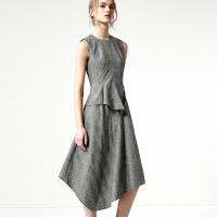 Europe And The Usa 2018 Women Spring Plaid Dress O-Neck Sleeveless Pullovers Vest Asymmetrical Dresses BDL007 Feminina Vestidos