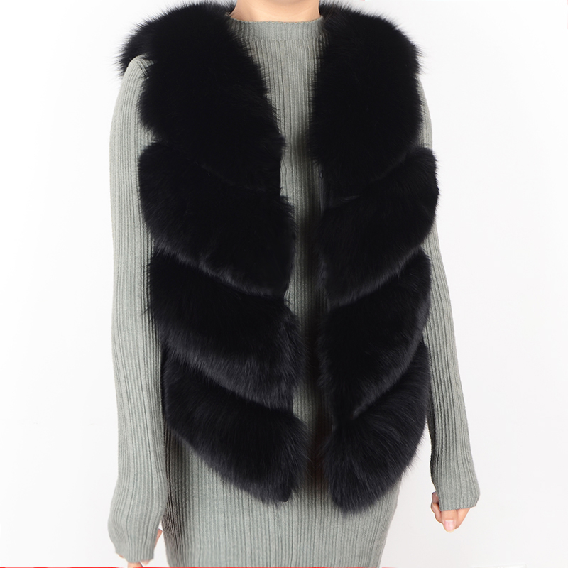 2018 Female Natural fox fur vest 100 real fox fur coat warm female fashion New style