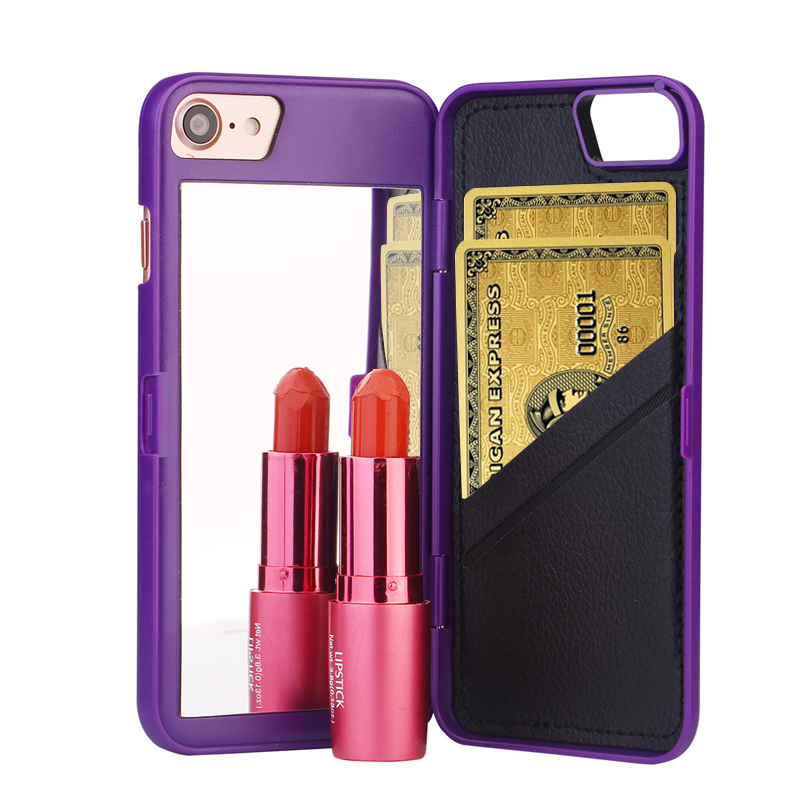 High quality luxury lady make up 3d dual layer card slot for Coque iphone 6 miroir