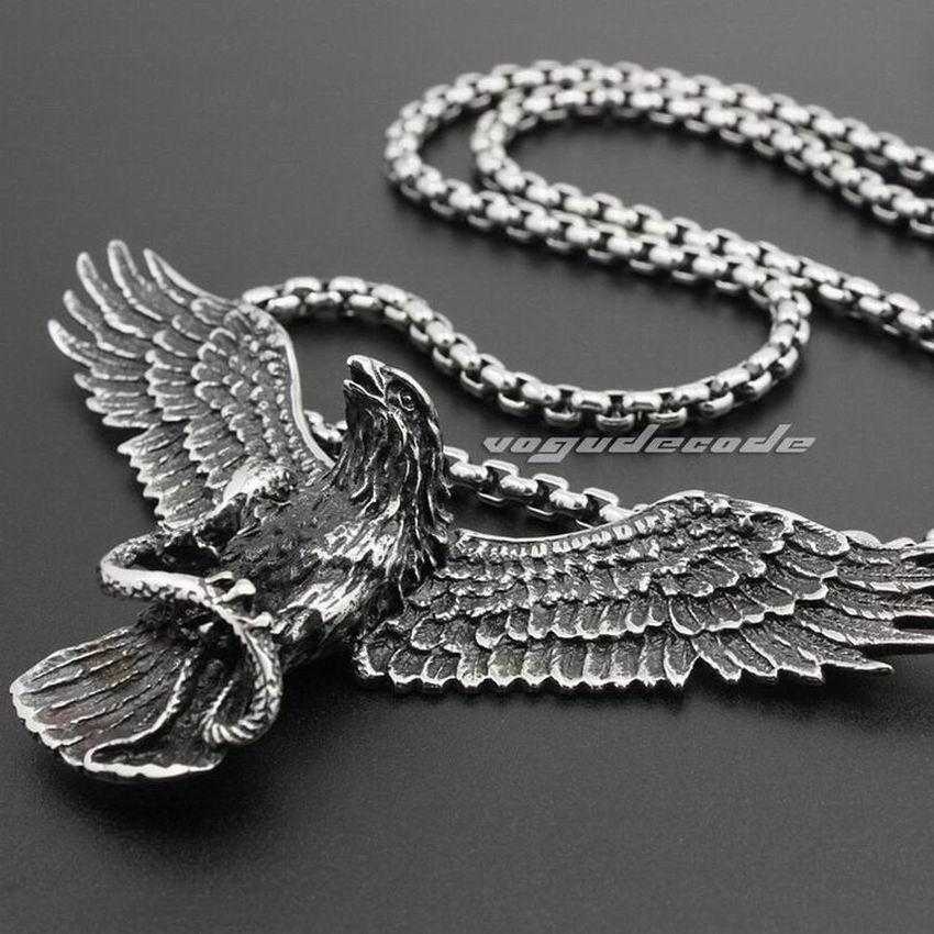 316L Stainless Steel Huge Eagle Pendant Mens Biker Rocker Punk Style 4S027 Steel Necklace 24 inches kcchstar cross style 316l stainless steel pendant necklace golden silver