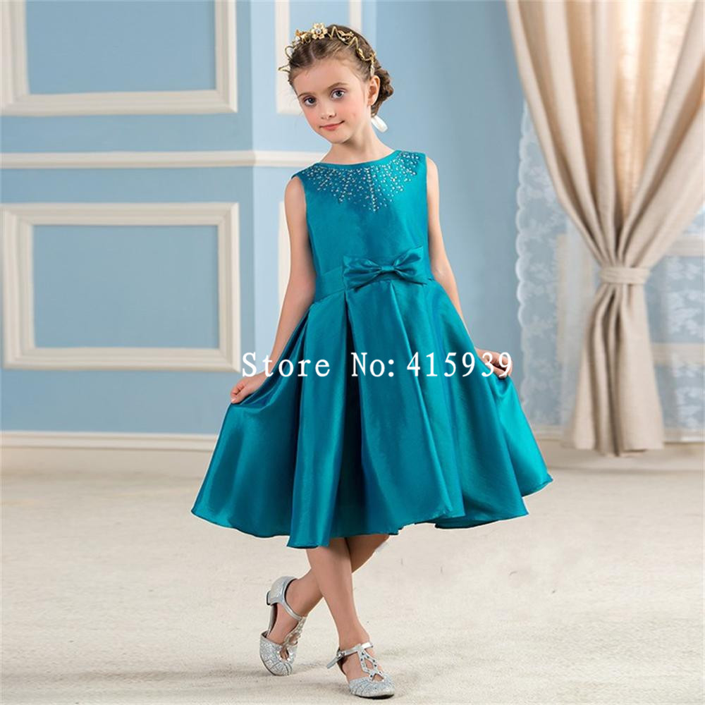 Cute Teal Green Knee Length Flower Girl Dresses 2017 Kids Beauty ...