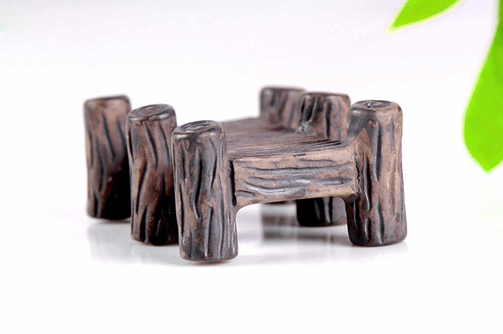 Resin Miniature Vintage Wooden Bridge DIY Craft Accessory Home Garden Decor maison Accessories Souvenirs Home DecorW5