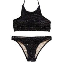 Push Up Swimwear Female Lace Sexy Bikini Set Solid Color Black Bathing Suits Swimsuit Beach Wear