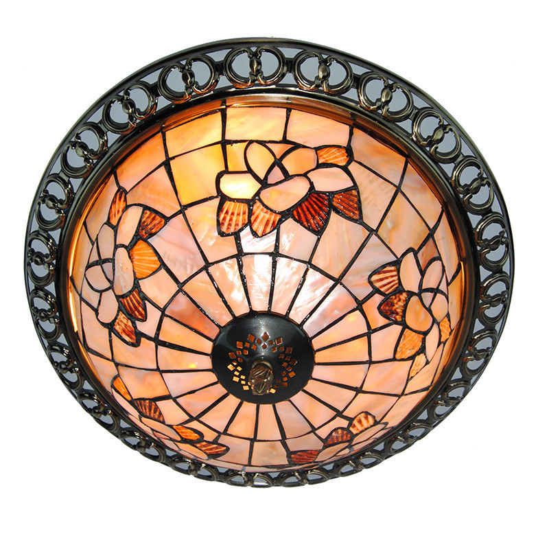 3 Lights Tiffany Style Light Fixture Dining Room Living Room Tiffanylampe Vintage Stained Glass Ceiling Flush Mount Lamp CL330 tiffany mediterranean style peacock natural shell ceiling lights lustres night light led lamp floor bar home lighting