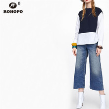 ROHOPO Chic Women Splice Autumn Pullover Blouse Long Sleeve Jersey Top Round Edge Flared Patchaork White camisa Shirt #BM1791