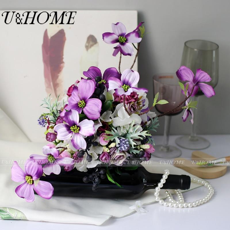 U&Home Artificial silk roses purple berries bride bouquet hydrangea for home table decoration wedding DIY <font><b>flower</b></font> bouquet bulk