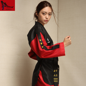 Image 2 - five star doboks adult men and women Taekwondo coach clothing long sleeved clothing Black red design adult taekwondo uniforms