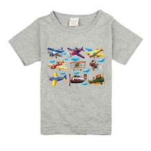 Boys Girls Short Sleeve T Shirts For Children Fashion Retro Aircraft PatternTops 10 Colors Kids Clothing Baby Boys Girls T Shirt