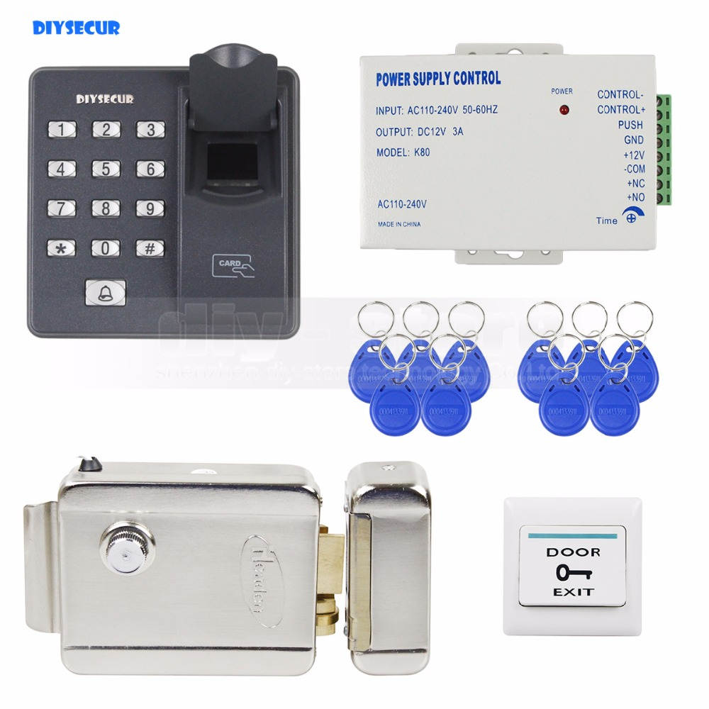 цена на DIYSECUR Biometric Fingerprint RFID 125KHz Password Keypad Door Access Control System Kit + Electric Lock