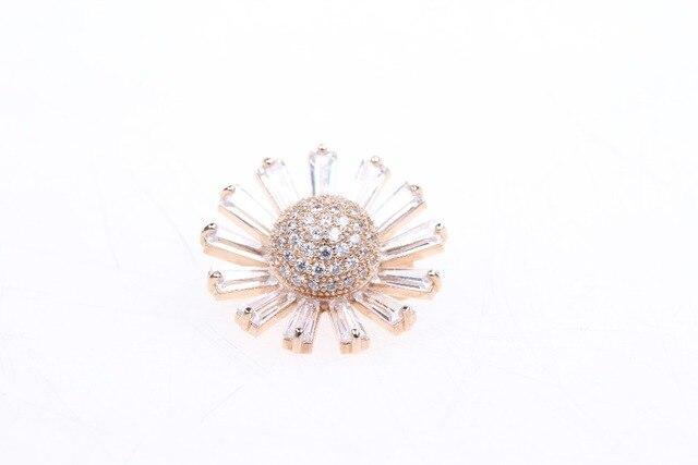 Office lady Broche banhado a Ouro novo estilo broches para mulheres presente de Cristal incrustado Girassol declaração de jóias por atacado de moda