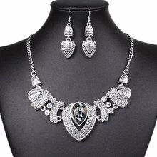 nigerian african Women's Vintage Rhinestone Choker Chain Necklace Earrings Wedding Jewelry Set ethiopian womens costume jewelry(China)