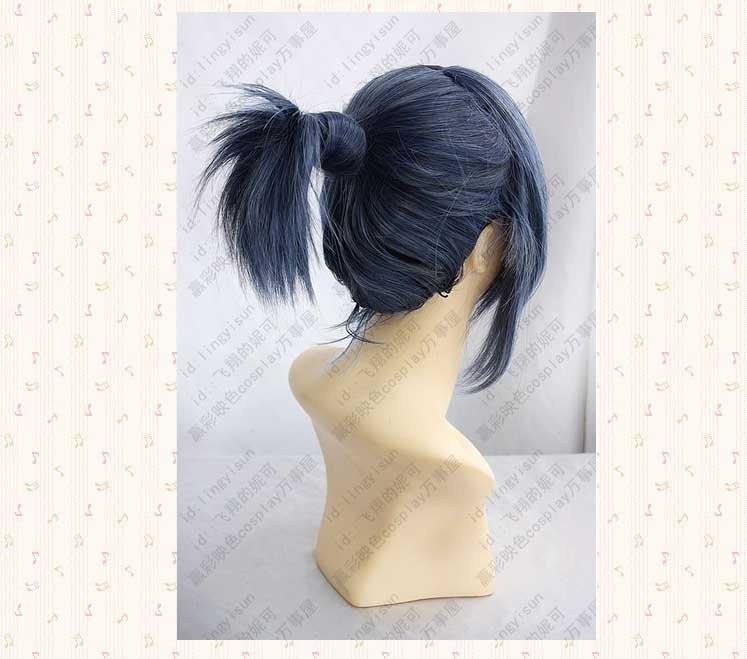 нет.6.МОУ. 1225. короткие Голуб черный хвост Panic косплей, синтетические аниме парик. бесплатная доставка