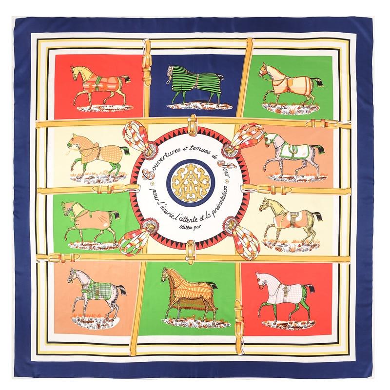 POBING Luksuzna blagovna znamka 100% keper svileni šal ženska hitro konjski ovitki Echarpe kvadrat ženski velik velikost šal hidžab ogrlica