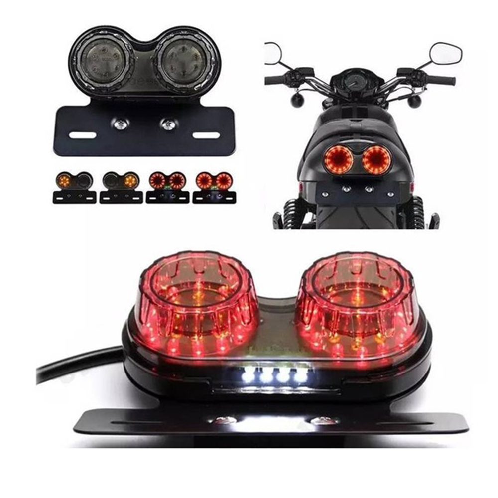 12V Dual LED Light Stop Motorcycle Light Generic Integrated Tail Light Twin Light Premium Brake Turn Signal Brake License Plate