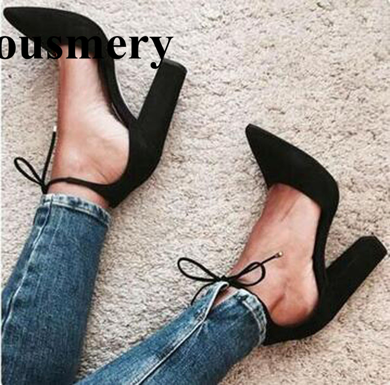 High Quality Women Fashion Pointed Toe Lace-up Suede Leather Thick Heel Pumps Ankle Strap High Heels Formal Dress Shoes fashion suede leather heeled sandals pointed toe lace up women pumps spikle high heel women shoes zapatos mujer