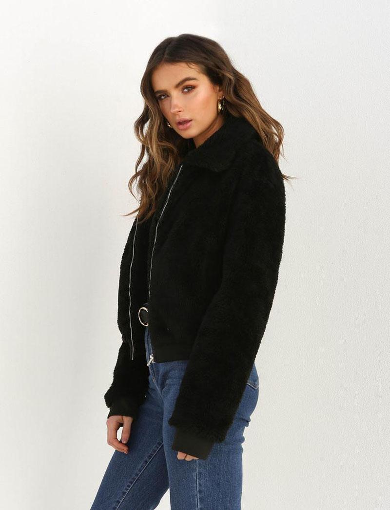 19 Winter arrival Women Cotton Fluffy Long Sleeve Jacket Ladies Warm Outerwear Cardigan Coat 8