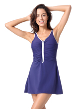 Delimira Women's One Piece Zip Front Skirted Plus Size Swimdress Swimsuit