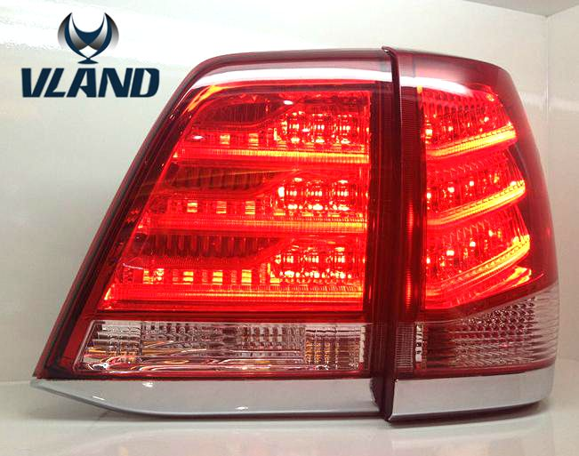 Free shipping Vland car styling for LandCrusier 2008-2013 led taillight  black color rear light free shipping vland factory car parts for camry led taillight 2006 2007 2008 2011 plug and play car led taill lights