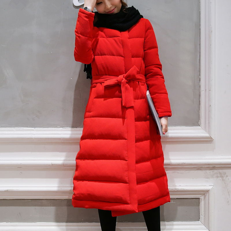 Maxi Coats Abrigos Mujer Invierno 2017 Winter Jacket Women Red Long Parka Cotton Jacket Coat Women Elegant Outwear Parkas C3759 hooded winter jacket women thick cotton padded parka down warm casaco feminino jaqueta feminina abrigos mujer invierno sy235