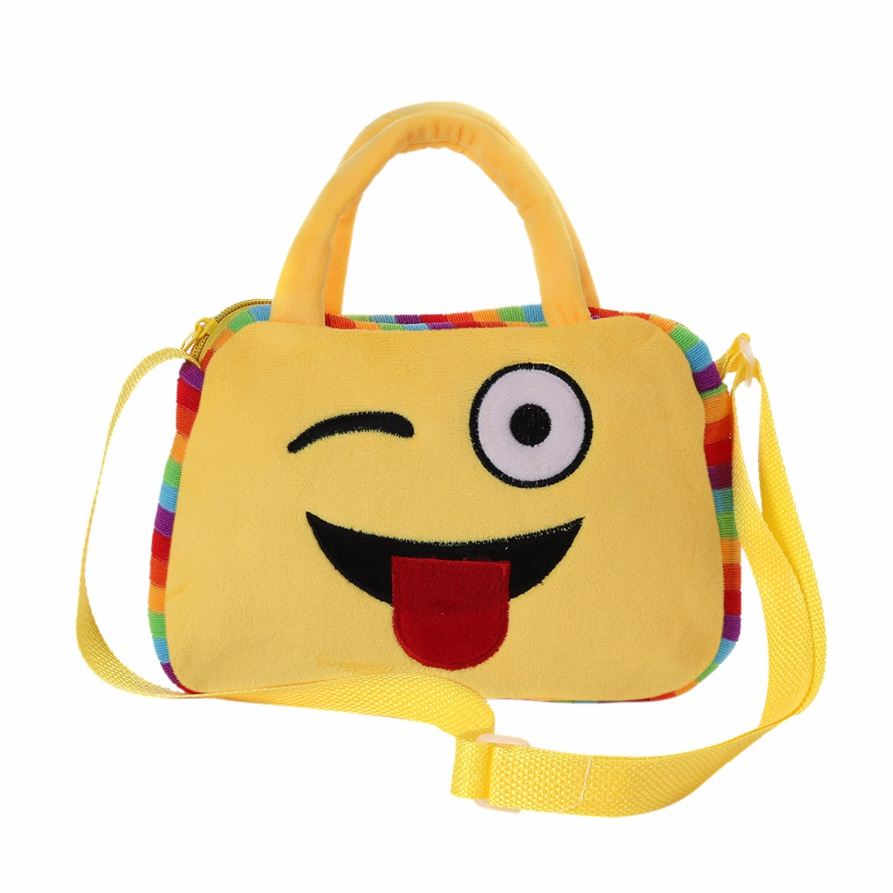2018 New Emoji Face Expression Plush Toy Children School Bags for Teenage Girls Handbag Schoolbag Crossbody Messenger Bags