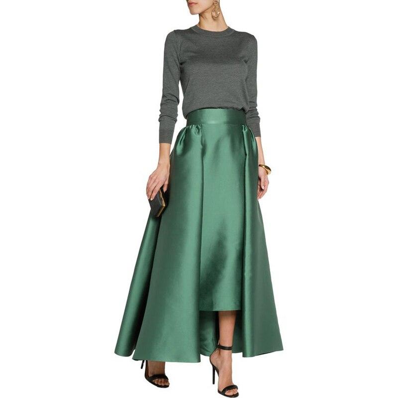 Mujeres Otoño Faldas Longitud Línea Oscuro Primavera Grueso Zipper Larga Maxi Verde Cintura Piso Una Satén Wide Personalizado Falda TfTqRwA