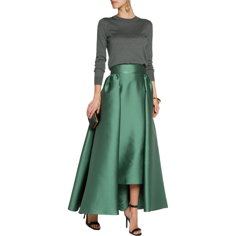 Wide Larga Primavera Línea Grueso Otoño Maxi Cintura Satén Zipper Falda Personalizado Longitud Piso Verde Faldas Oscuro Mujeres Una XwfWq7WF