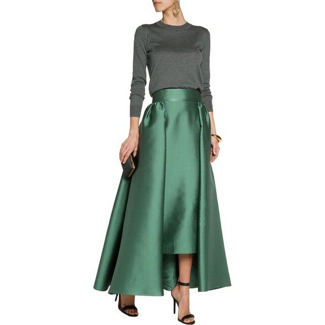 7b3868d53 € 32.6 7% de DESCUENTO Otoño primavera satén grueso Maxi falda wide zipper  cintura una línea piso longitud Falda larga personalizado verde oscuro ...