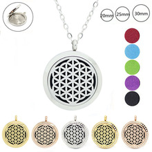 316L stainless steel magnetic Flower of life aromatherapy pendant necklace 20mm 25mm 30mm essential oil diffuser necklace