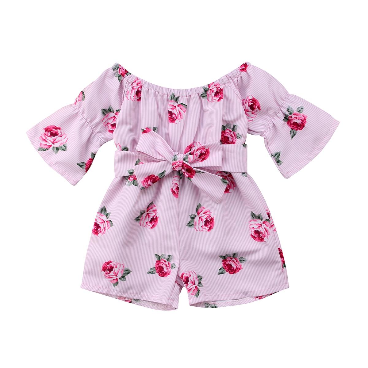 Bebé niño niña mameluco bebé niño chica hombro flare manga suelta arco mono snsuit ropa de verano