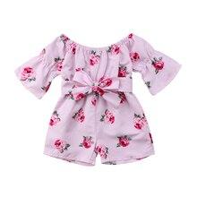 719e794b32 toddler baby girl floral romper toddler baby girl off shoulder flare sleeve  loose bow jumpsuit playsuit