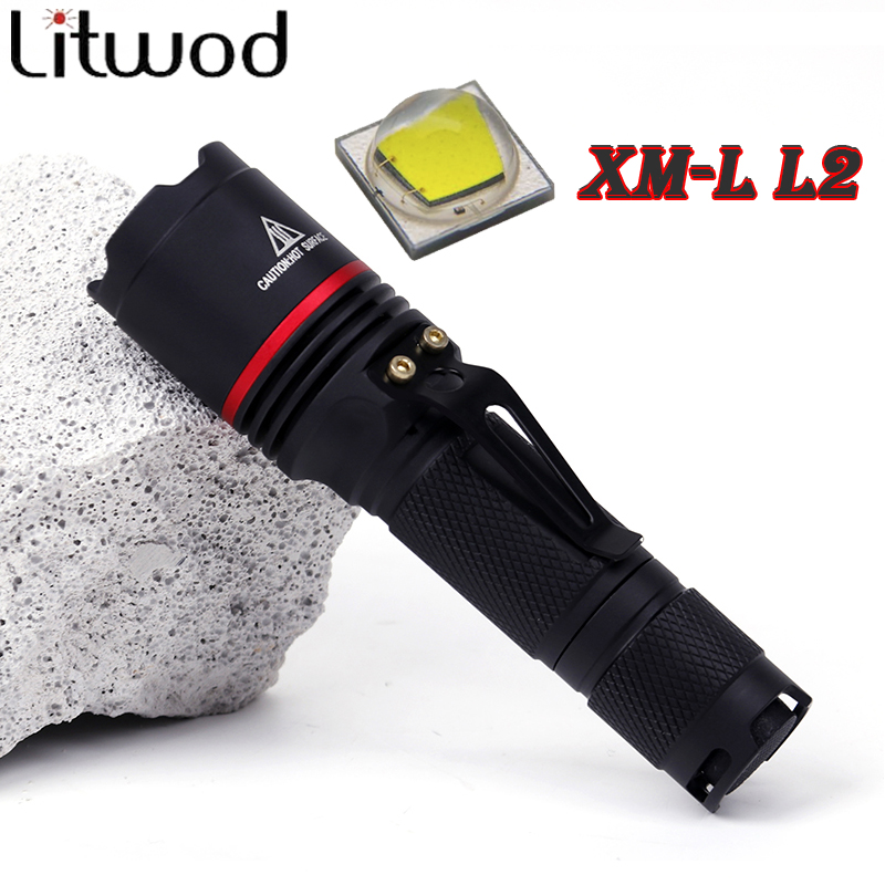 Litwod Z30911 XM-L L2 5000LM Aluminum Waterproof CREE LED Flashlight Torch light for 14500 Rechargeable Battery or AA skilhunt ds15 cree xm l2 led edc waterproof flashlight torch 5 modes 240lm 1 x 14500 or aa battery