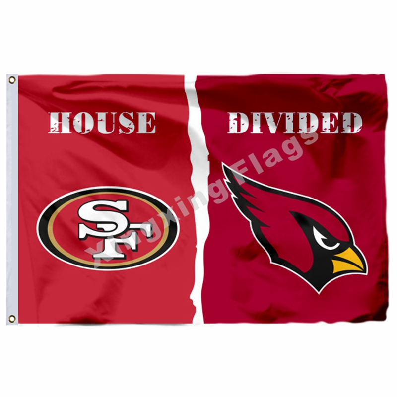 San Francisco 49ers Arizona Cardinals House Divided Flag 3ft X 5ft Polyester NFL1 Banner Size No.4 144*96cm Custom Flag